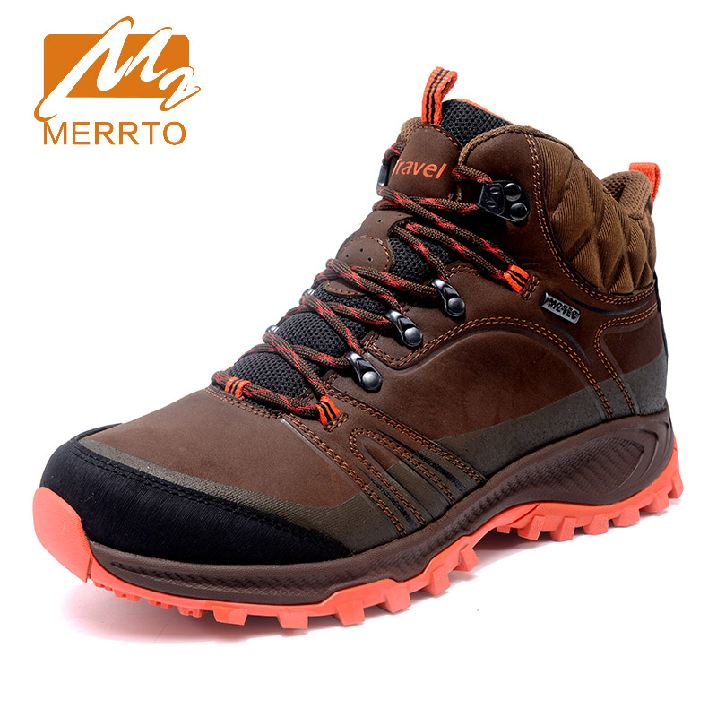 2017 Merrto Mens Hiking Shoes Warmth Breathable Climbing Shoes Non-slip Outdoor Sports Shoes For Men Free Shipping MT18695 new handmade hiking shoes for men climbing boots breathable and non slip cowhide outdoor sneakers free shipping