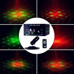Mini LED światło laserowe RGB 120 wzory efekt oświetlenia scenicznego projektor laserowy Auto dźwięk Actived lampa Xmas Party Disco światła w Oświetlenie sceniczne od Lampy i oświetlenie na