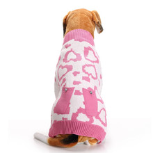 New Autumn/winter Wool Pet Dog Sweaters cute Christmas Love picture Knitting Sweater for Medium and big Clothes(pink)