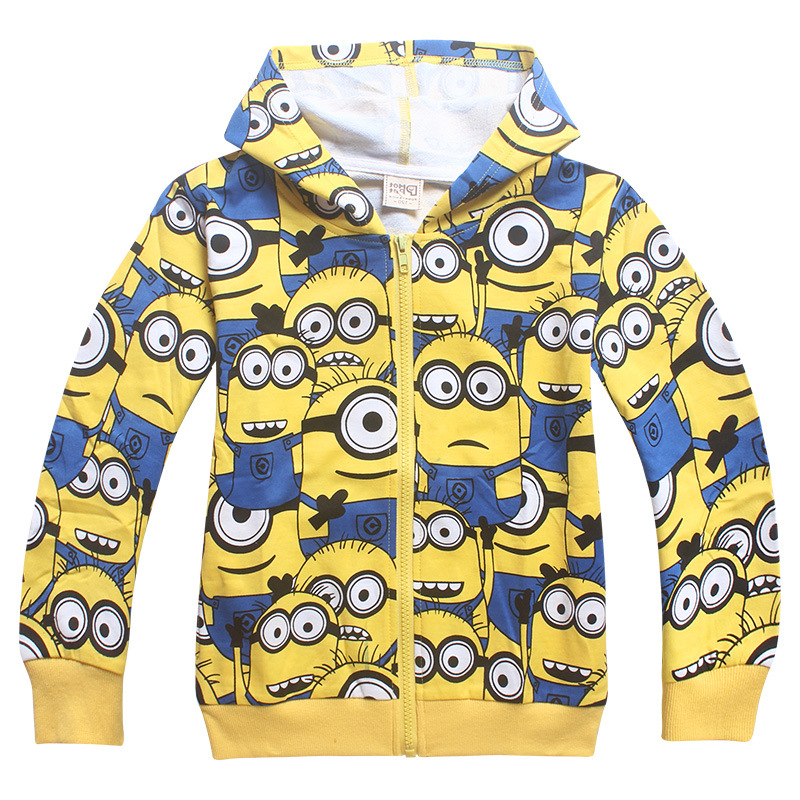 2018 Spring Autumn Children Cotton Boys Jacket Girl Coat Minions Kids Clothes Hooded Baby Outerwear & Coats Coat for Girls Boys