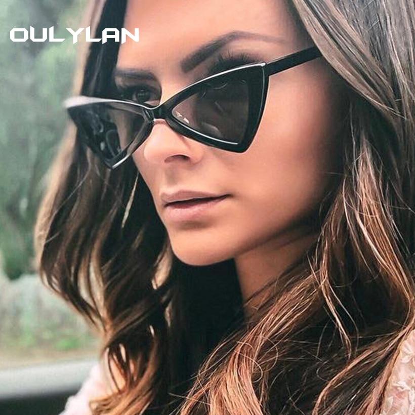 Oulylan Vintage Sunglasses Triangle Women Brand Designer Small Cat-Eye Female Retro