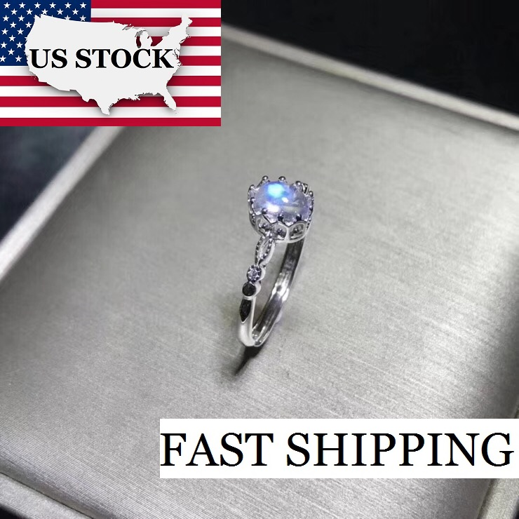 USA STOCK Uloveido Natural Blue Moonstone Ring Simple 925 Sterling Silver Oval Cut Gemstone Birthstone Ring