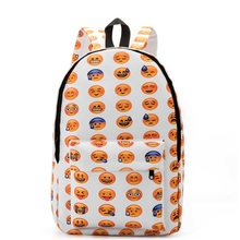 2017 New Women QQ Expression Large Capacity Canvas Backpack Students Cartoon Expression Travel Backpack Back to School Bag