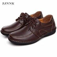 ZJNNK Genuine Leather Men's Casual Shoes Black Brown Men Flats,Hand Sewing Men Oxfords Zapatos Hombres Trendy Men Shoes