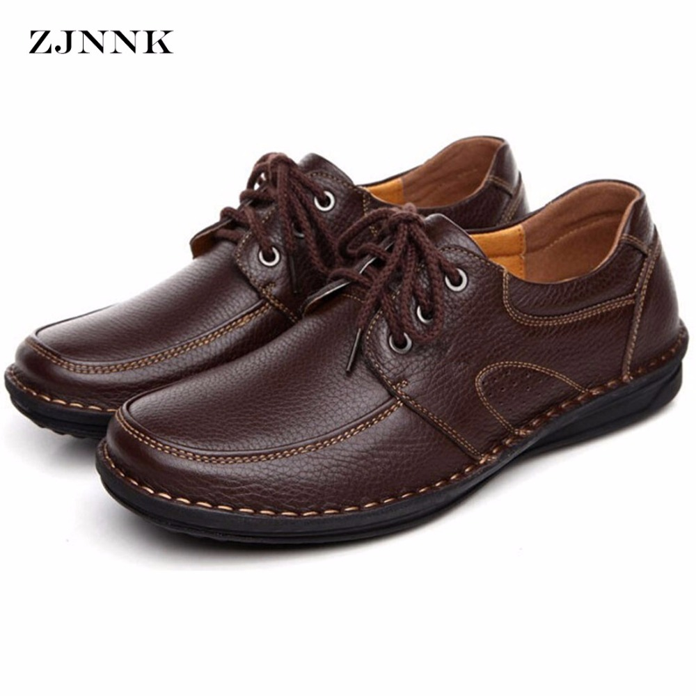 ZJNNK Genuine Leather Men's Casual Shoes Black Brown Men Flats,Hand Sewing Men Oxfords Zapatos Hombres Trendy Men Shoes good quality men genuine leather shoes lace up men s oxfords flats wedding black brown formal shoes