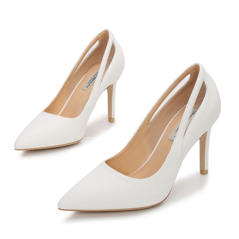 2019 New White Thin High Heels Women Pumps Shoes Pointed Toe 9cm Fashion Sexy Comfortable Female Shoes Party Office E0020