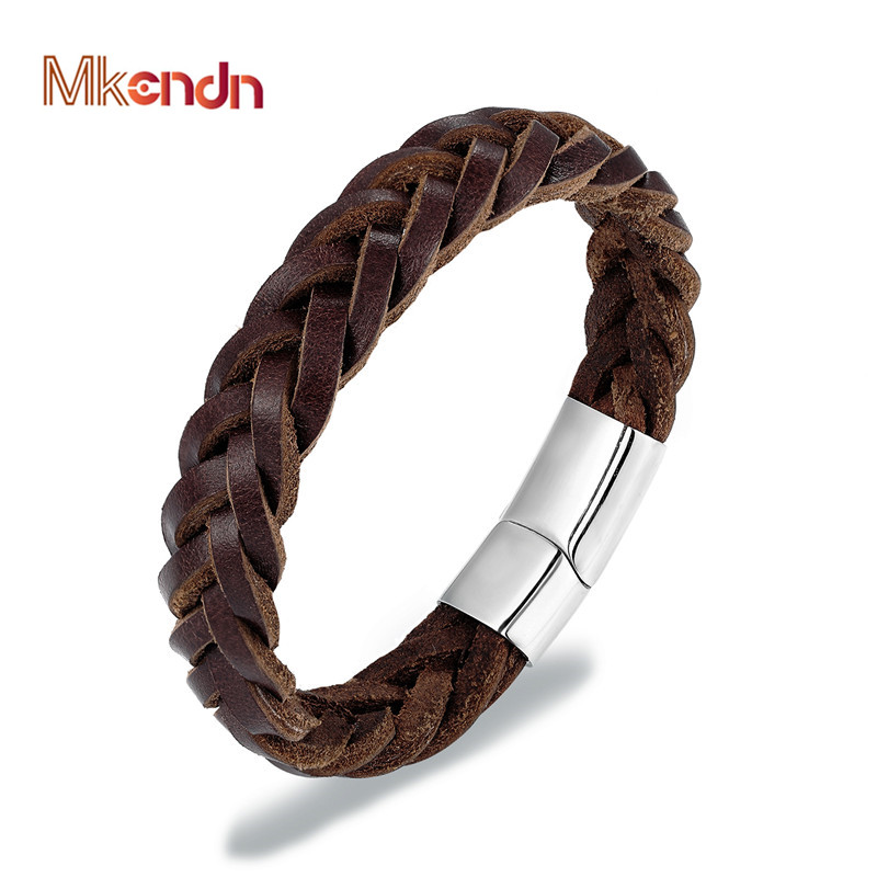 MKENDN 2019 Fashion Stainless Steel Chain Genuine Leather Bracelet Men Vintage Simple Male Braid Jewelry for women