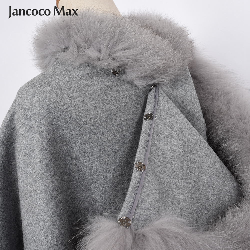 2017 Real Fur Poncho Genuine Fox Fur Collar Trim & Wool Cape Women Detachable Hooded Winter Classic Shawls Coat S1723