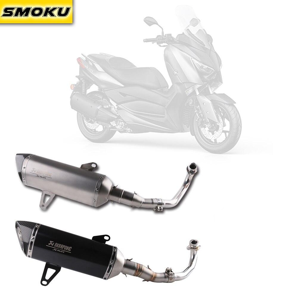 Xmax 300 Laser LOGO Akrapovic Exhaust Pipe Carbon Fiber Muffler Exhaust Pipe For Yamaha XMAX 250 300 cc 2017-18