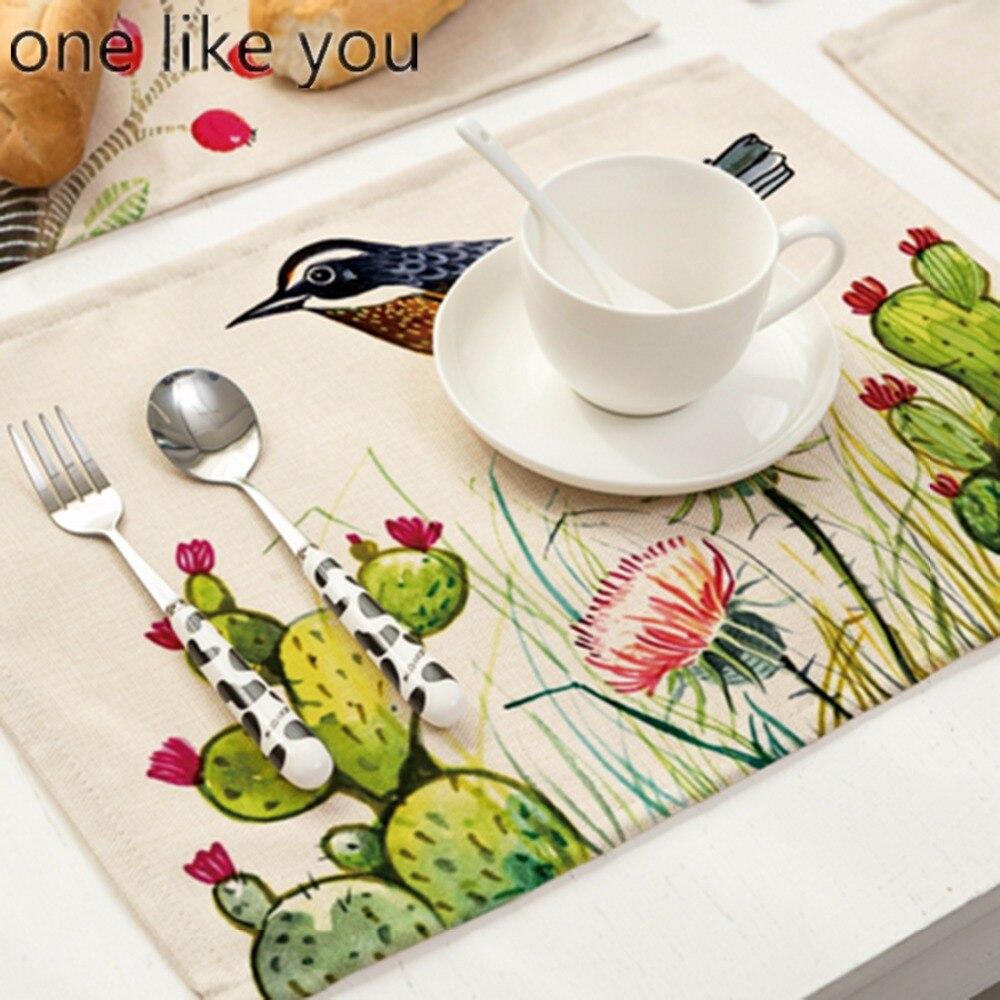 uno come si morbido cotone lino dipinto a mano tavolo zerbino runner uccello stampato posto zerbino