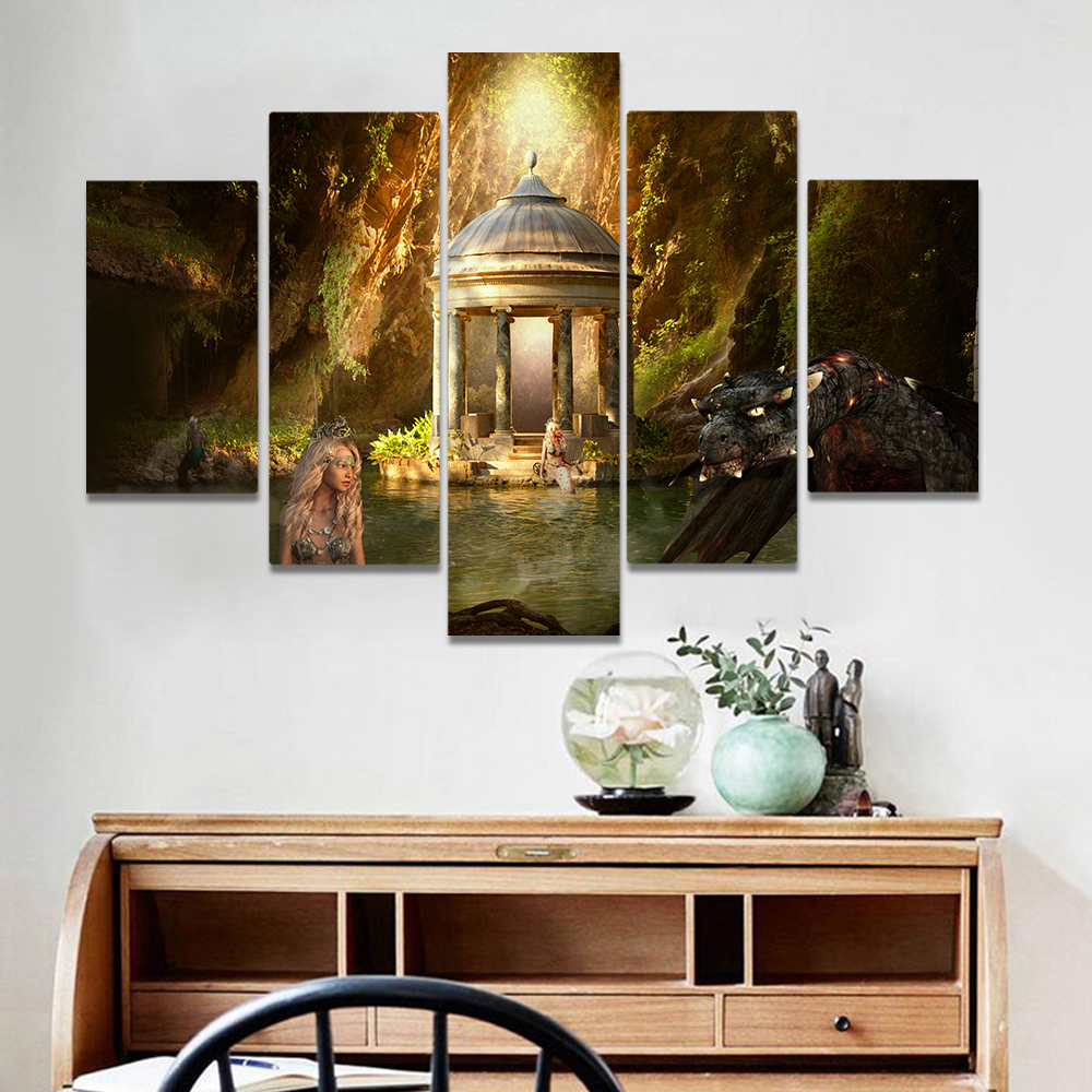 Unframed Canvas Painting Mountain Valley Mermaid Pavilion Art Picture Prints Wall Picture For Living Room Wall Art Decoration
