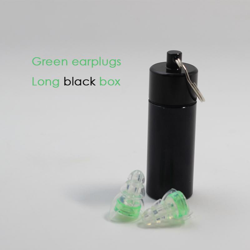 Green earplugs + Long black box
