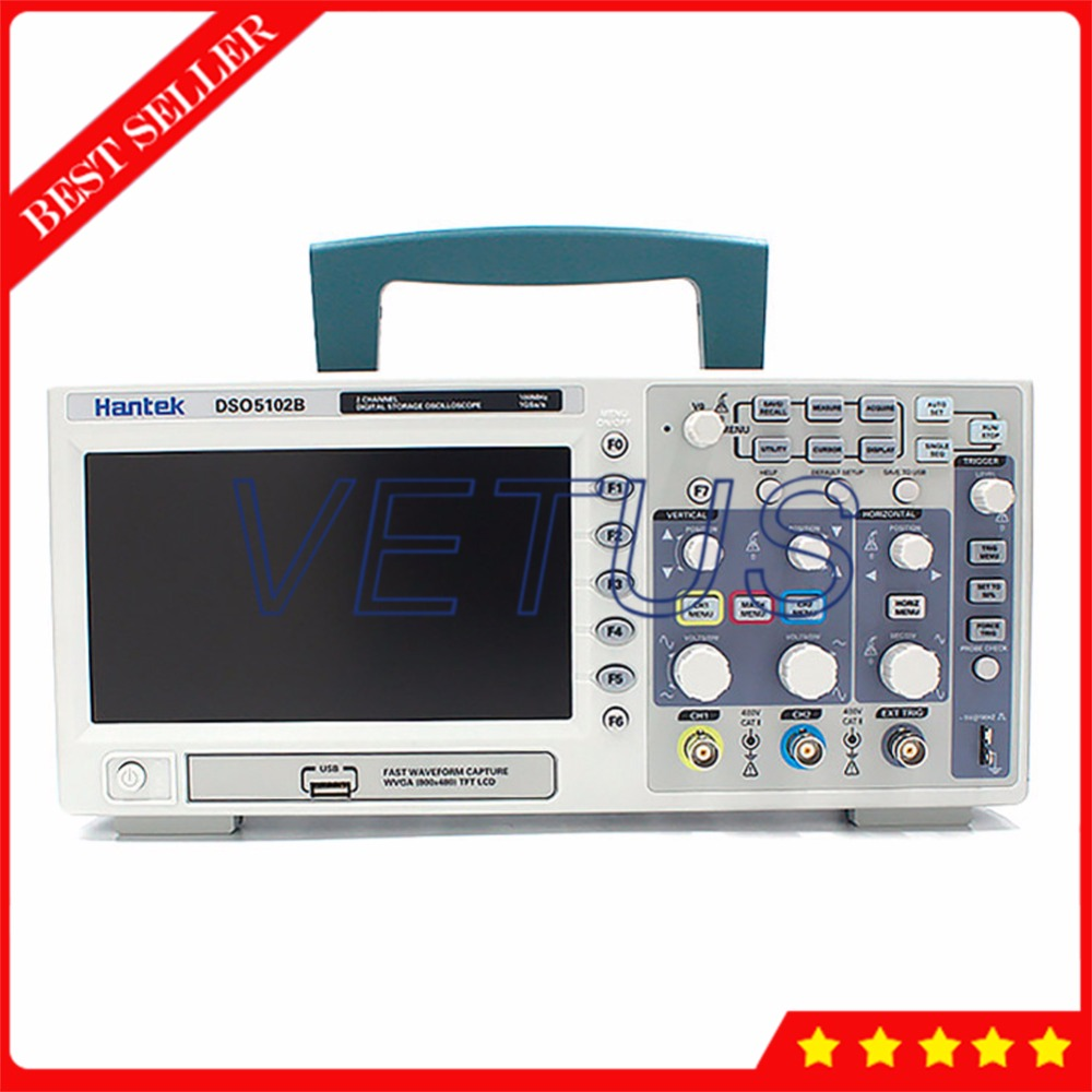 Hantek DSO5102B Digital osciloscopio with USB 100MHz 2 Channels Benchtop Portable Oscilloscope Portatil Diagnostic-tool hantek 6022bl pc usb oscilloscopes digital portable 2channels 20mhz bandwidth osciloscopio portatil 16channels logic analyzer