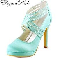 Elegantpark More Color EP11085 PF Stiletto Heel Platform Rhinestones Cross Straps Zipper Back Satin Wedding Evening
