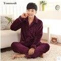 Hombres Pijamas de Invierno de Visón Cachemira Caliente Solid Para Hombre Pijamas de Franela Engrosamiento de manga Larga Pijama Conjunto de Salón 4XL Hombres Pijama
