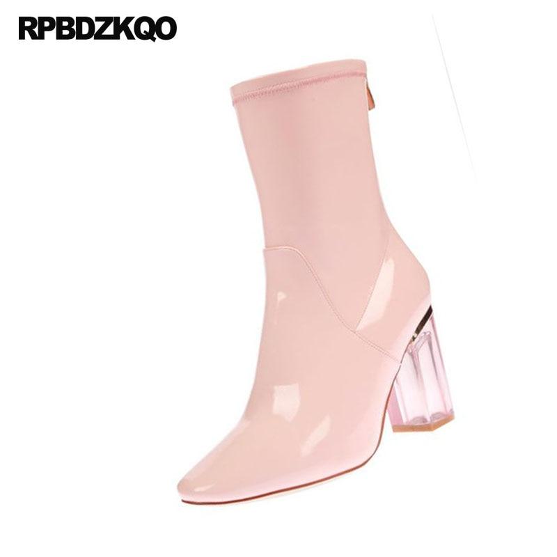 3d81aa7579e7c8 Damen grau Luxus Schuhe Klar Transparent Leder Marke rosa Rosa blau Frauen  Große Heel Knöchel rot blau Stiefel High ...