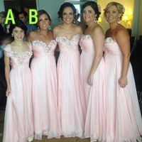 Chiffon Pink Appliques Beaded Bridesmaid Dress 2 Styles for Choice Weddings Guests Vestido De Festa Maid Soirees to Party Sweet