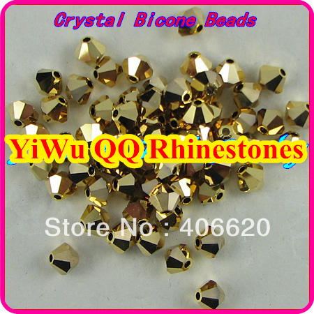 Фото Free shipping! AAA 5301 Gold hematite color 3mm 4mm 5mm 6mm 8mm  Crystal Glass Bicone Beads.