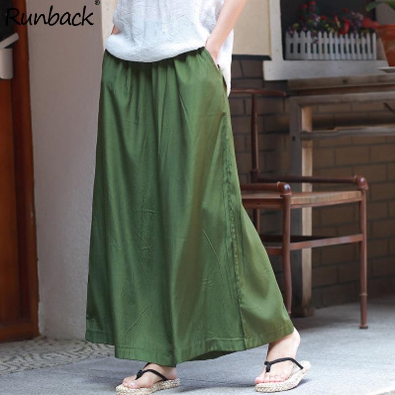 Runback Green Wide Leg Pants Elastic Waist Loose Plus Size Women Trousers Work Pantalon High Waist Boho Pants Capri Pants Women