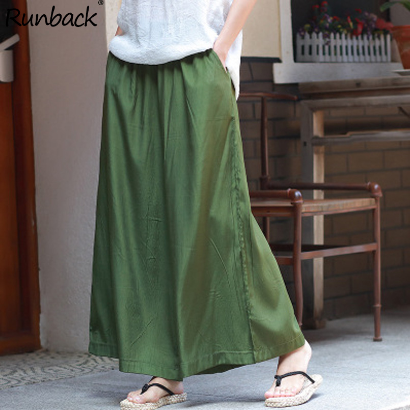 Runback Green Wide Leg   Pants   Elastic Waist Loose Plus Size Women Trousers Work Pantalon High Waist Boho   Pants     Capri     Pants   Women