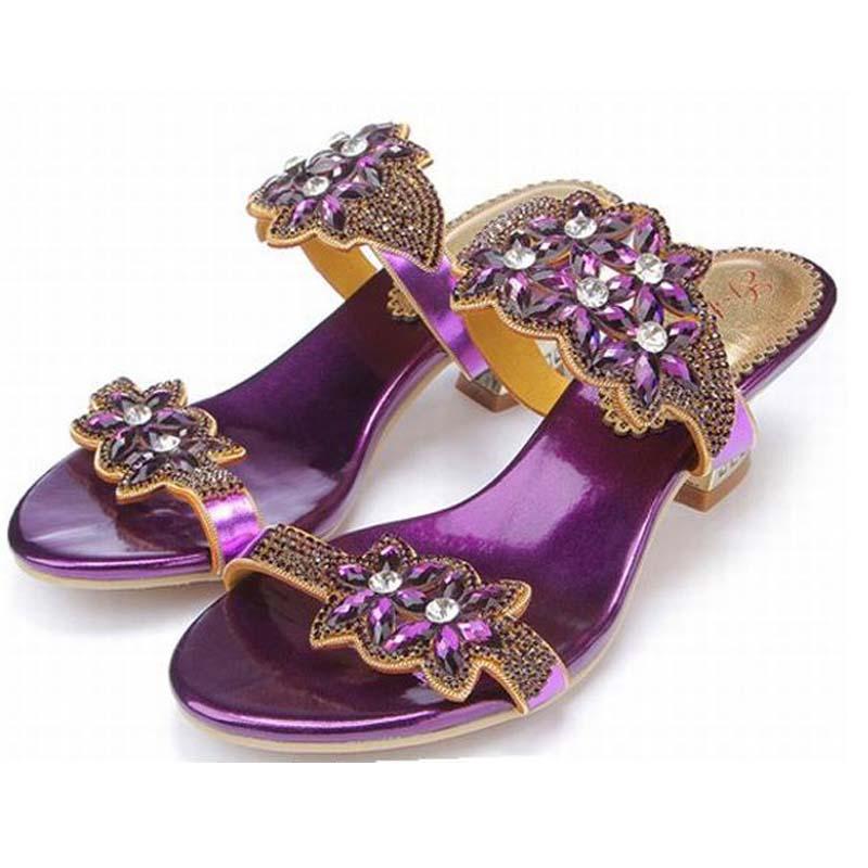 da4bdb5c04a 44 Luxury Size Rome Flower Summer Purple Ladies Slippers Big Heels High Gladiator  Sandals Women Rhinestone ...