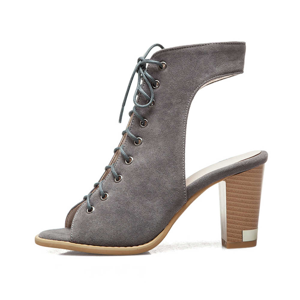 Meotina tacones altos sandalias de gladiador mujeres de encaje zapatos de tacón alto grueso sandalias de Punta abierta calzado femenino de verano de gran tamaño 5-12