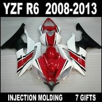 7 Gifts fairings for YAMAHA R6 2008 2009 2013 fairings 08 09 10 11 12 13 red white flat black YZF R6 fairing kits UJG75