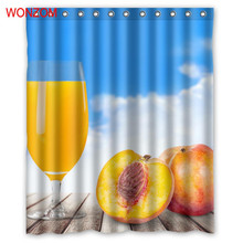 WONZOM Juice Shower Curtains with 12 Hooks For Bathroom Decor Modern Summer Beach Bath Waterproof Curtain Accessories