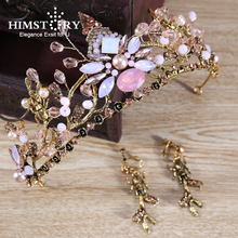 HIMSTORY Luxury Vintage Tiara Crown European Queen Wedding Tiaras Large Bronze Crowns Hair Jewelry