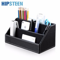 HIPSTEEN 5 Compartment PU Leather Desk Organizer Pen Business Cards Remote Control Phone Holder Storage Box Home Office Supplies