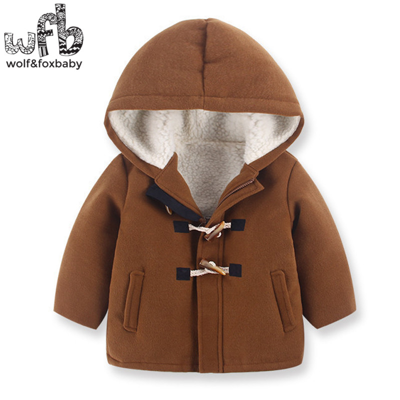 Retail 2-8 years coats Horn buttons Plus velvet full-sleeves brown color hooded kids children clothing spring autumn fall winter