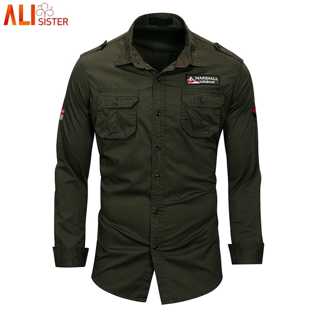 cb2e7bbd5 Alisister Army Green Military Shirt Mens Long Sleeve Casual Shirts Solid Slim  Fit Camisa Masculina Khaki High Quality Tops Male