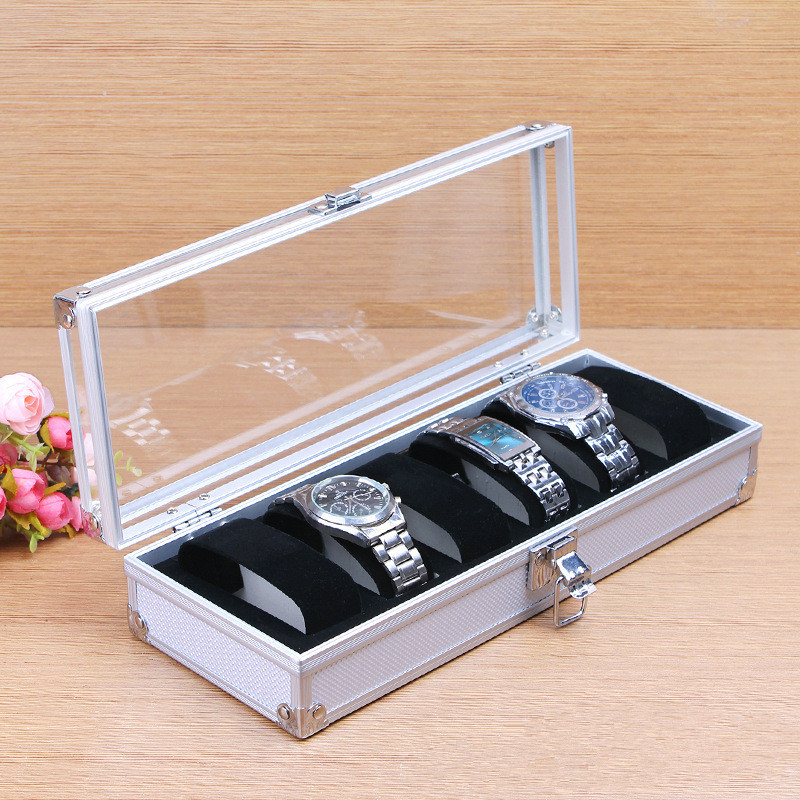 купить Fashion Luxury 6/12 Grid Aluminium Watch Box Display Case Box Jewelry Collection Storage Organizer Wristwatch Box Holder Gift онлайн