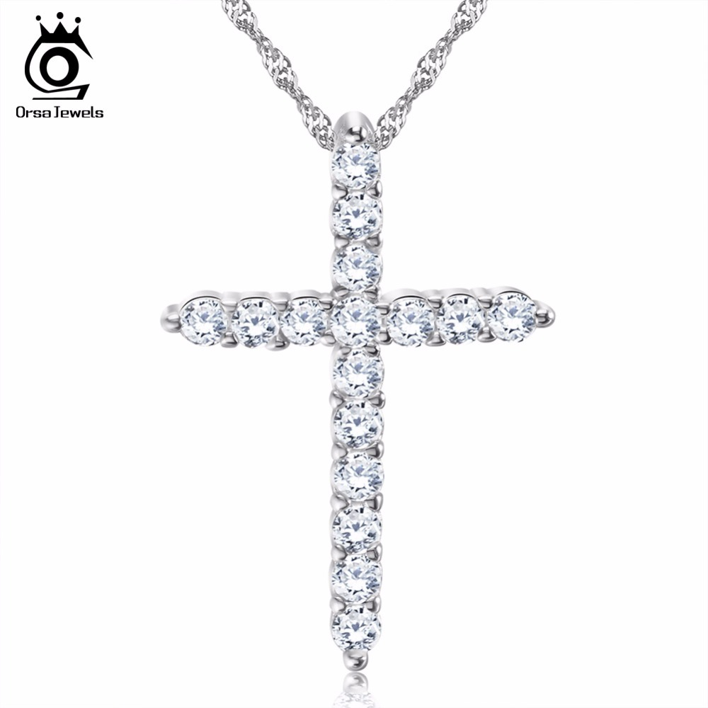 ORSA JEWELS Lead & Nickel Free Necklace Silver Color Cross Pendant Necklace with AAA Austrian Cubic Zirconia Trendy Jewelry ON56 orsa jewels 2018 silver color high polished hoop earrings paved with aaa austrian cubic zirconia for wedding party jewelry oe137