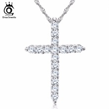 Silver Cross Pendant Necklace with 3 Layer Platinum Plated Allergy Free Trendy Jewelry ON56