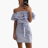 Off Shoulder Strapless Striped Big Ruffles Dress Women 2017 Summer Beach Casual Straight Shirt Dress Sleeveless
