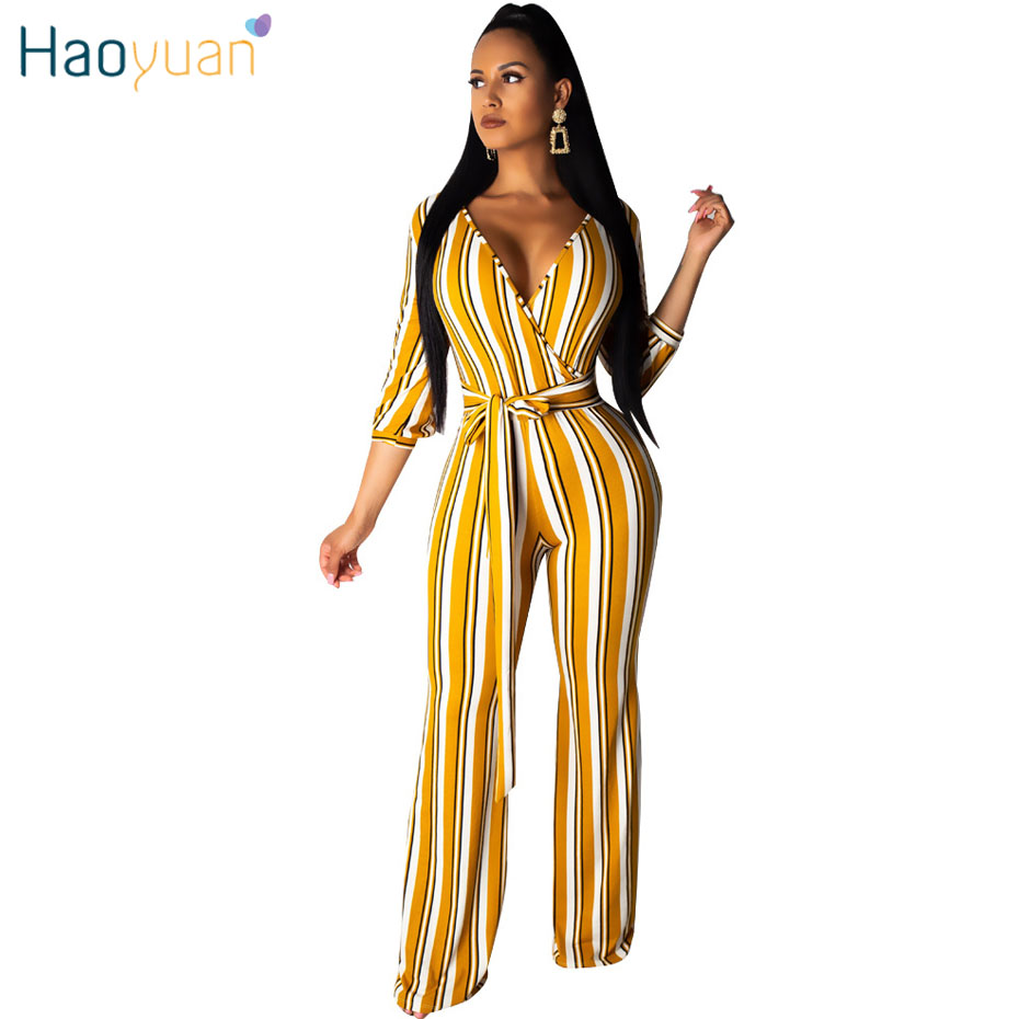 HAOYUAN Striped   Jumpsuit   Women Sexy Costumes2019 Summer One Piece Overall Streetwear Body Wide Leg Bandage Rompers   Jumpsuit