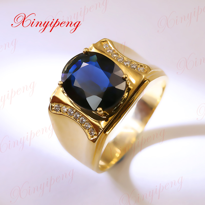 Xinyipeng 18K yellow gold inset natural sapphire ring men's ring, about 4 ct, style anniversary. jinhui 18k 750 0 05 ct jh bs1380