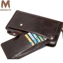 ФОТО monoleth large capacity genuine leather wallet purse men's wallet long double zipper clutch coin purse