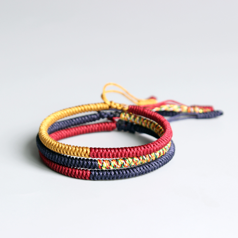 Eastisan 2017 Multi Color Tibetan Buddhist Lama Braided Knots Lucky Rope Bracelet For Man Women Size