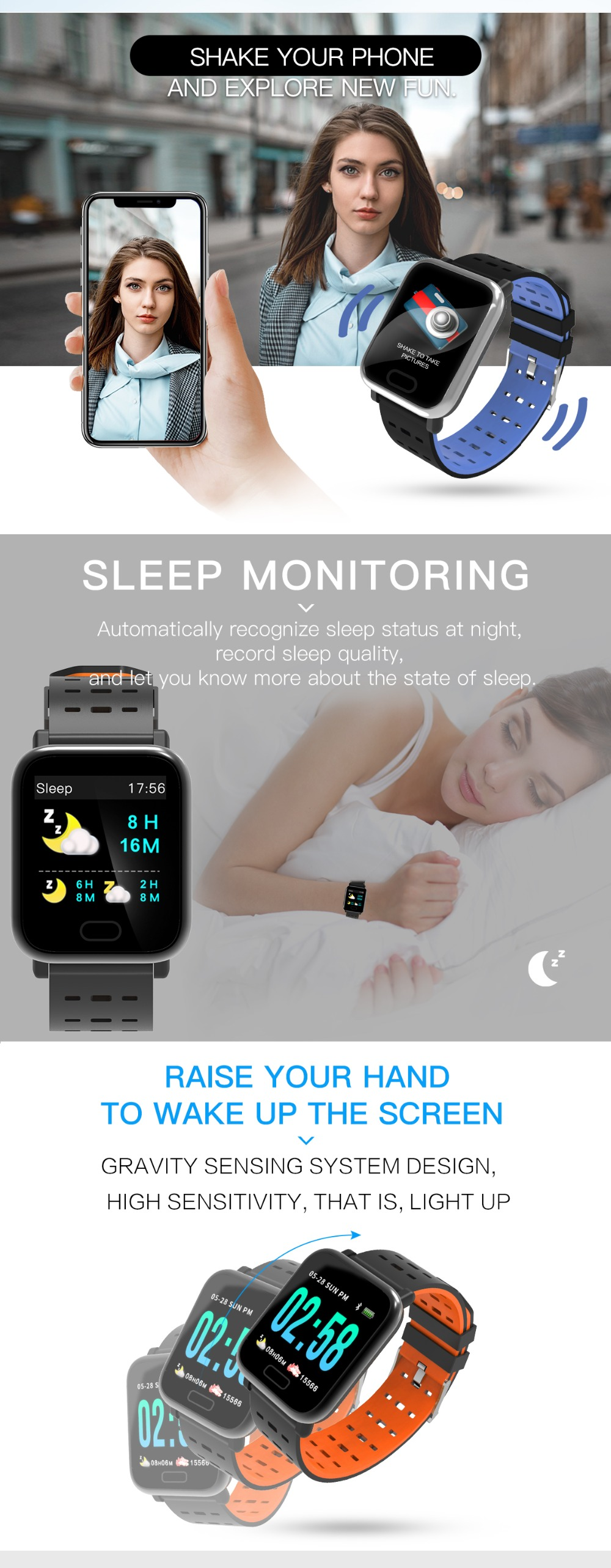 Wearpai bluetooth kids smart watch sport A6 fitness tracker men women heart rate Monitor watches for ios android waterproof ip67 8