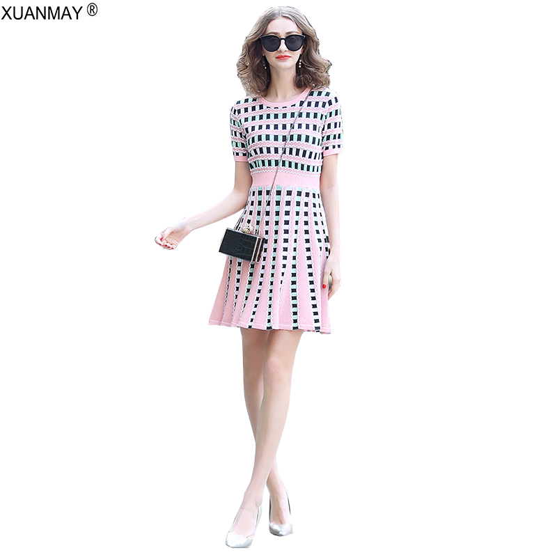Summer Dress Long Style Short Sleeve Sweater Dress 2019 Bohemia Pink Knit Dress Big Elastic Sexy Women's Colorful Summer Dress