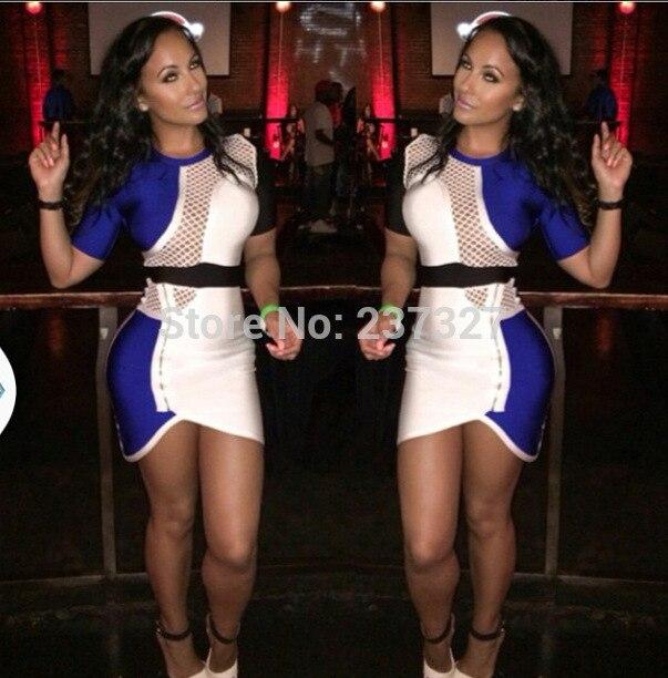 Vestido повязки 2016 синий кобальт, белые и черные сексуальные Резка края и решетки дизайнерский бренд середине рукава повязку вечернее платье