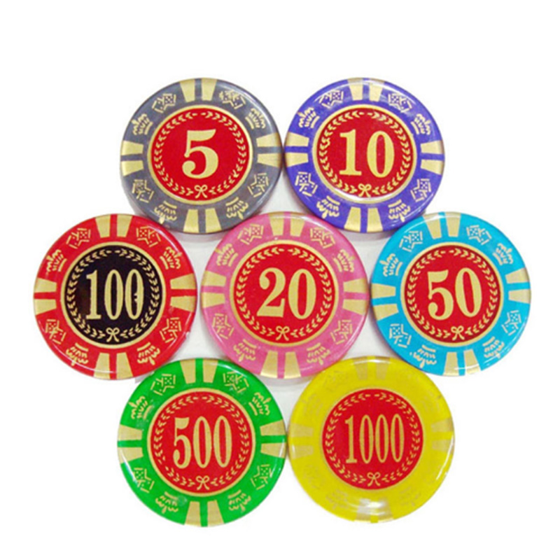 20 pcs/set Poker Chips Texas Holdem 8g Arcylic Round Value Casino Coins Poker Wholesale