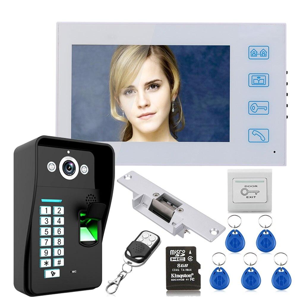 7 d'enregistrement D'empreintes Digitales RFID Vidéo Porte Téléphone Interphone Sonnette Système kit Avec 8g TF Carte Sans- gâche électrique Serrure De Porte
