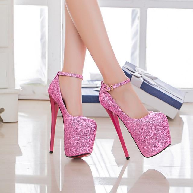 34-47 Sexy Fashion Platform Pumps Women Ultra High Stiletto Heels 19CM Shoes Round Toe Glitters Sequins Party Wedding Shoe MC-75
