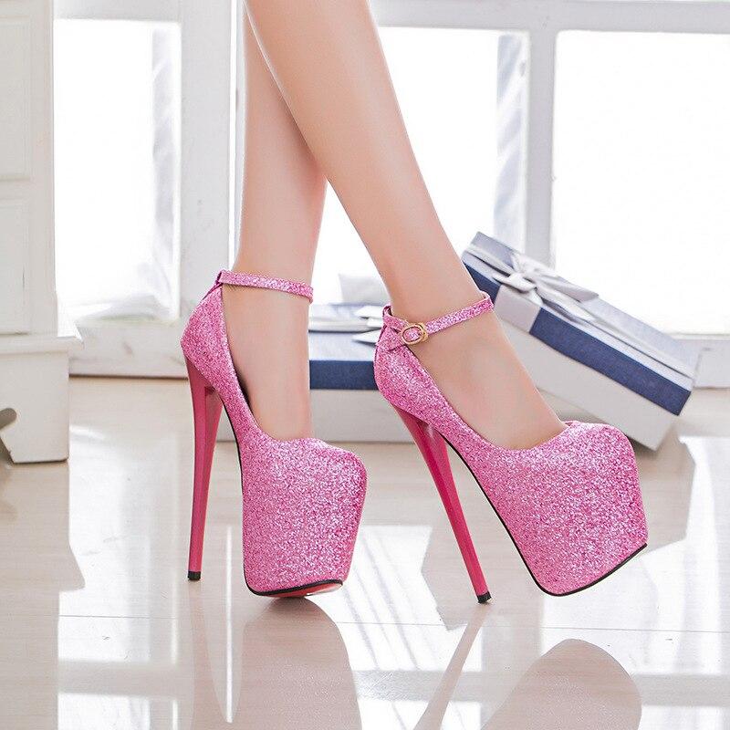 34 47 Sexy Fashion Platform Pumps Women Ultra High Stiletto Heels 19CM Shoes Round Toe Glitters Sequins Party Wedding Shoe MC 75