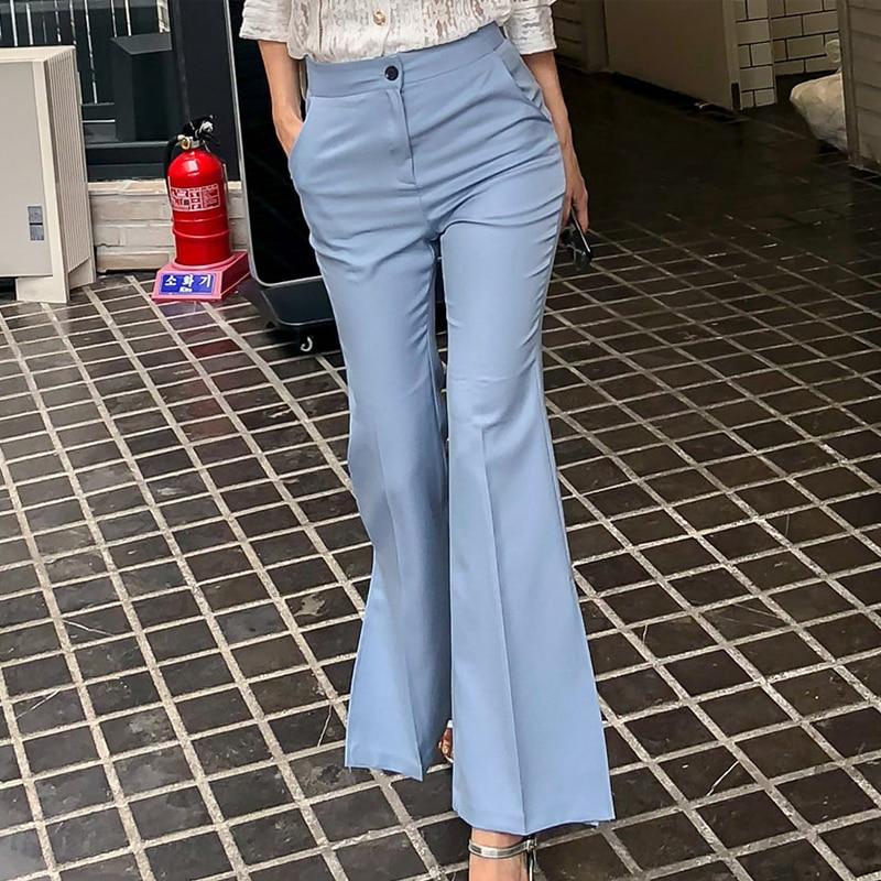 Fashion Blue Women Flare   Pants     Capris   Side Split Female Trousers 2018 Autumn Streetwear Chic Bottoms Pantalones Mujer