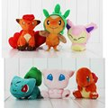 3Pcs/Lot Charmander Vulpix Mew Bulbasaur Chespin Skitty Plush Cat Stuffed Pikachu Toys Dolls For Gifts