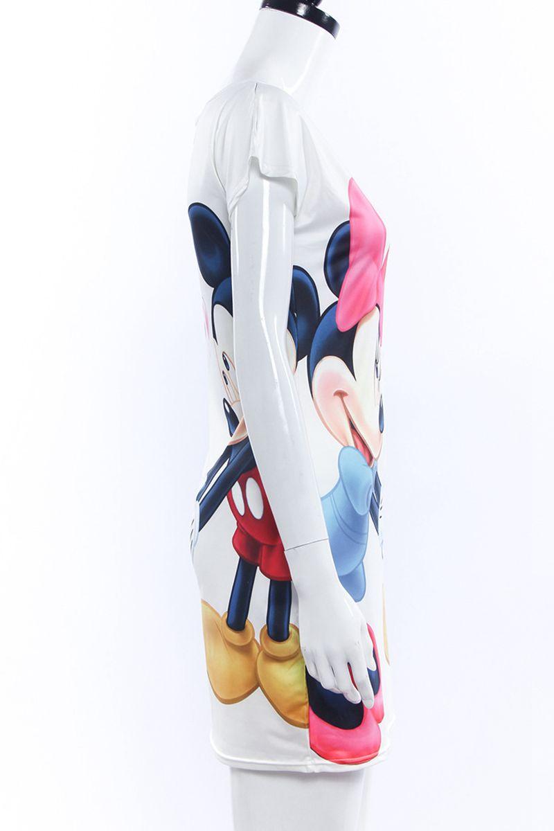 Festy Kary 2018 Spring Summer Women Dress S-3XL Dot Cartoon Print Short Sleeve Cute Bodycon Sheath Vintage Sexy Party Dresses